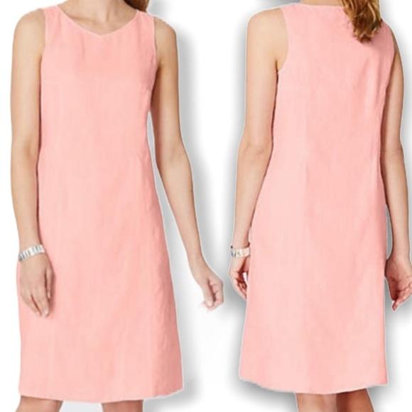 J. Jill Pink Love Linen Medium Tank Sheath Dress